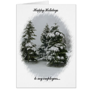 Happy Holidays to my Employees-Trees in the Snow Greeting Cards