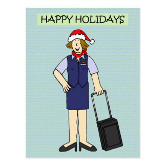 Happy Holidays to or from Cabin Crew Postcard