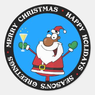Happy Holidays Toast from Black Santa Classic Round Sticker