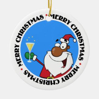 Happy Holidays Toast from Black Santa Ornament