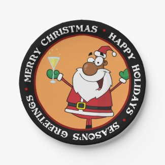 Happy Holidays Toast from Black Santa 9 Inch Paper Plate