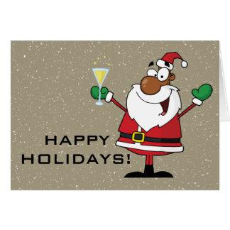 Happy Holidays Toast from Black Santa Stationery Note Card