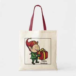 Happy Holidays Tote Bag featuring Christmas Elf
