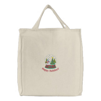 Happy Holidays Tote Bag with Embroidered Snowglobe