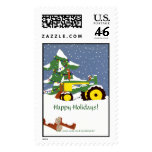 Happy Holidays! Tractor Postage Stamp