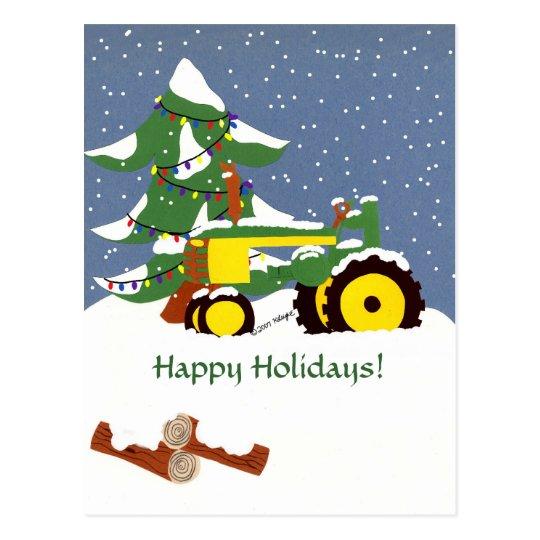 Happy Holidays! Tractor Postcard
