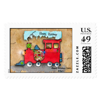 Happy Holidays Train Art Postage Stamp