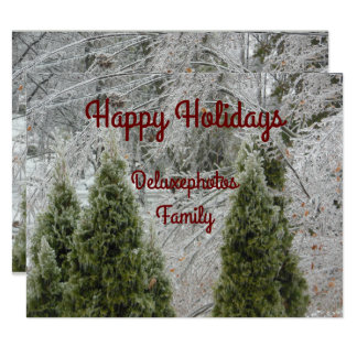 Happy Holidays Tranquil Icy Branches Card