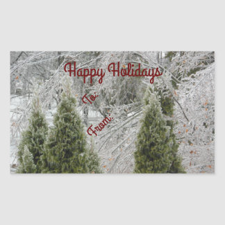 Happy Holidays Tranquil Icy Branches Rectangular Sticker