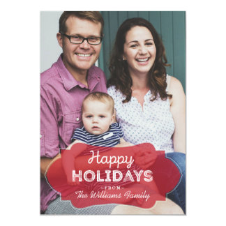 Happy Holidays Transparent Red Framed Family Photo Card