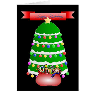 Happy Holidays Tree and Presents Card