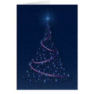 """""""Happy Holidays"""" Tree Full Of Blue Stars Card"""