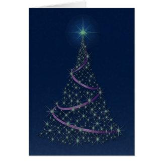 """""""Happy Holidays"""" Tree Full Of Emerald Stars Card"""