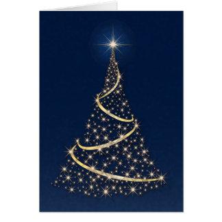"""Happy Holidays"" Tree Full Of Golden Stars Card"