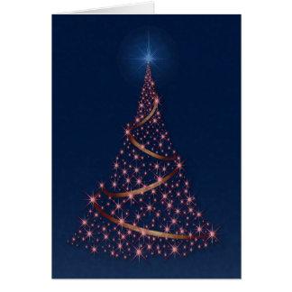 """Happy Holidays"" Tree Full Of Pink Stars Card"