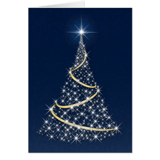 """Happy Holidays"" Tree Full Of White Stars Card"
