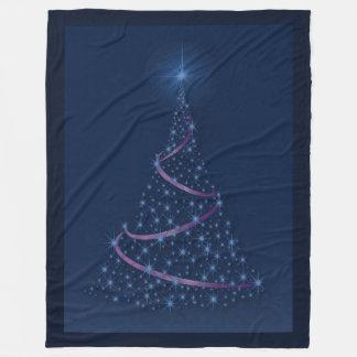 Happy Holidays Tree Of Blue Stars Fleece Blanket