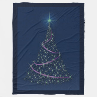 Happy Holidays Tree Of Emerald Stars Fl. Blanket