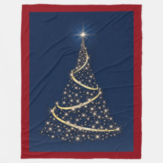 Happy Holidays Tree Of Gold Stars Fleece Blanket