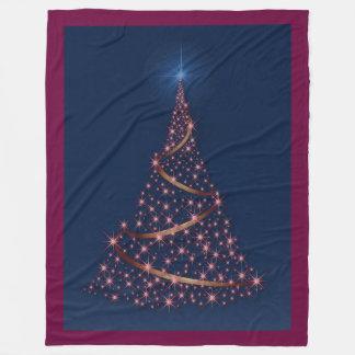 Happy Holidays Tree Of Pink Stars Fleece Blanket
