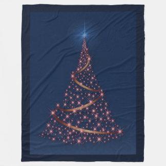 Happy Holidays Tree Of Pink Stars Fleece Blanket 2