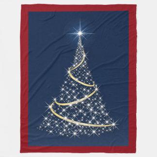 Happy Holidays Tree Of White Stars Fleece Blanket