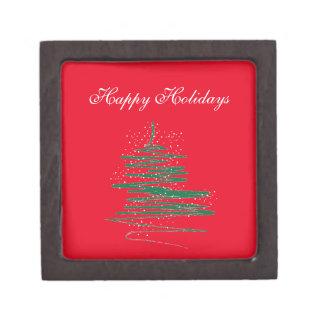 Happy Holidays Tree Snowflakes Jewelry Box