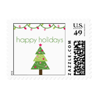 Happy Holidays Tree Stamps