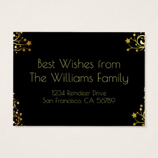 Happy Holidays Typography Stars Black Gold Chic Business Card
