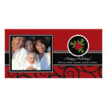 Happy Holidays Unique Red & Black Holly Customized Photo Card