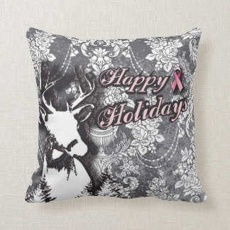 Happy Holidays Victorian Breast Cancer Pillow
