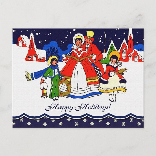 Vintage Christmas Cards.Happy Holidays Vintage Christmas Scene Postcards