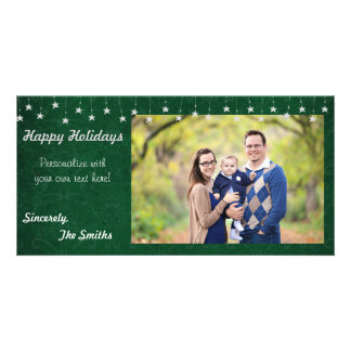 Happy Holidays Vintage Star Lights Green 8x4 Card