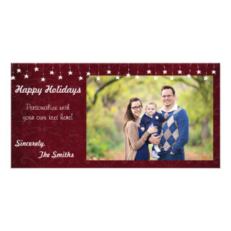 Happy Holidays Vintage Star Lights Red 8x4 Card