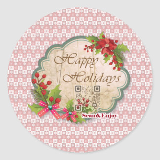 Happy Holidays Vintage sticker with funny videos