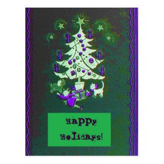Happy Holidays Vintage Tree Postcard