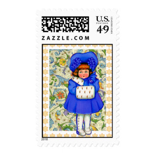 Happy Holidays Vintage Winter Girl Sheet Of Stamps at Zazzle
