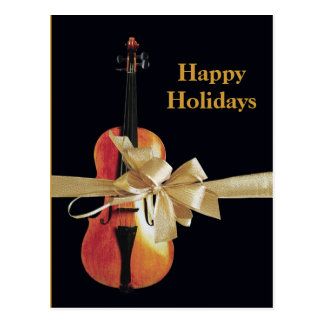 Happy Holidays Violin Postcard