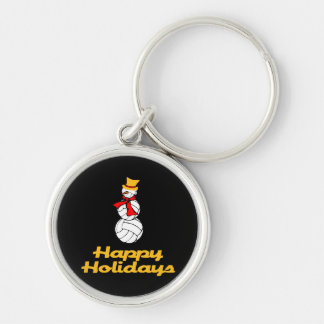 Happy Holidays Volleyball Snowman Keychain