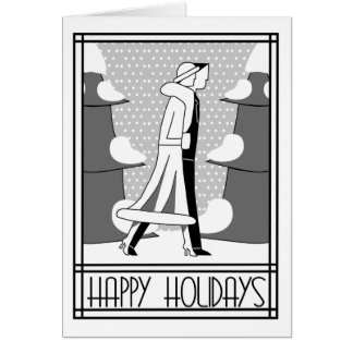 """""""Happy Holidays"""" walk in the snow Greeting Card"""