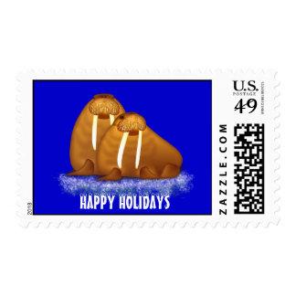 HAPPY HOLIDAYS Walrus Pair Postage Stamp