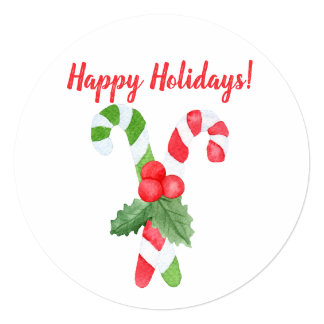 Happy Holidays! | Watercolor Candy Cane Christmas Card