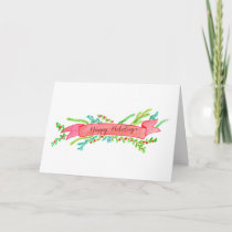 Happy Holidays, watercolor Christmas banner Holiday Card
