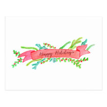 Happy Holidays, watercolor Christmas banner Postcard