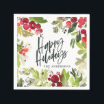 """Happy holidays watercolor floral Holiday Napkin<br><div class=""""desc"""">Happy holidays watercolor floral script text Holiday design. Part of a collection. Ideal a holiday or Christmas party.</div>"""