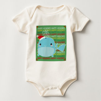Happy Holidays Whale Baby Bodysuit