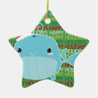 Happy Holidays Whale Ceramic Ornament