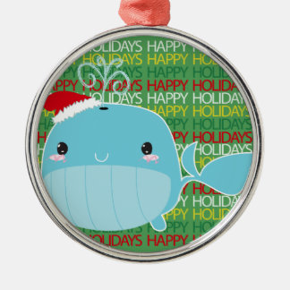 Happy Holidays Whale Metal Ornament