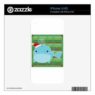 Happy Holidays Whale Skins For iPhone 4