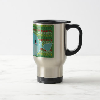 Happy Holidays Whale Travel Mug